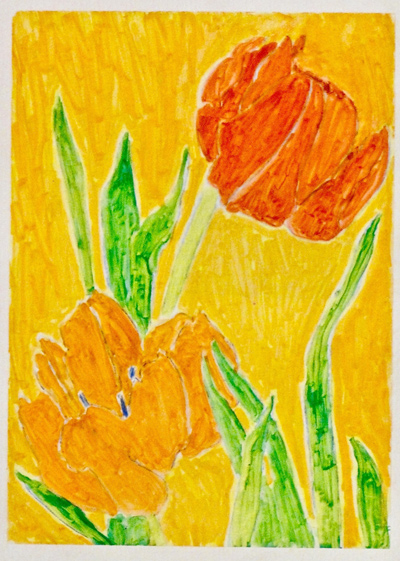 "Yellow and Red Tulips, 7""x5"""